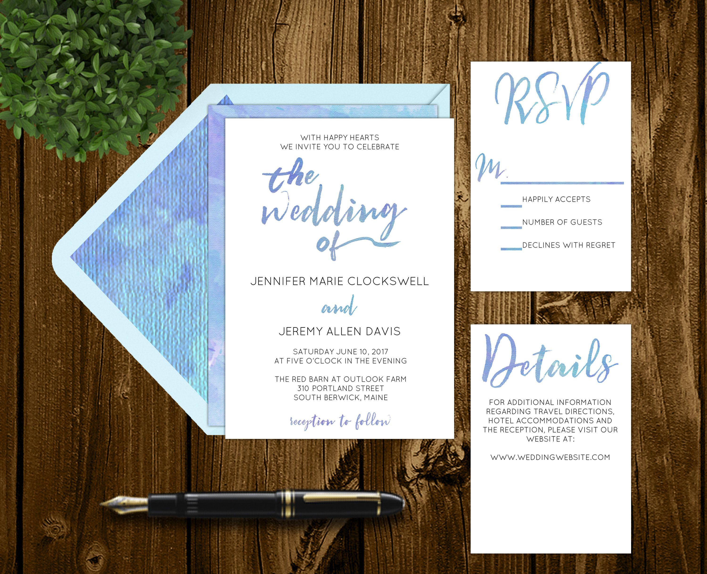 Printable Purple And Blue Watercolor Wedding Invitations - Wedding invitation templates: hotel accommodations template for wedding invitations