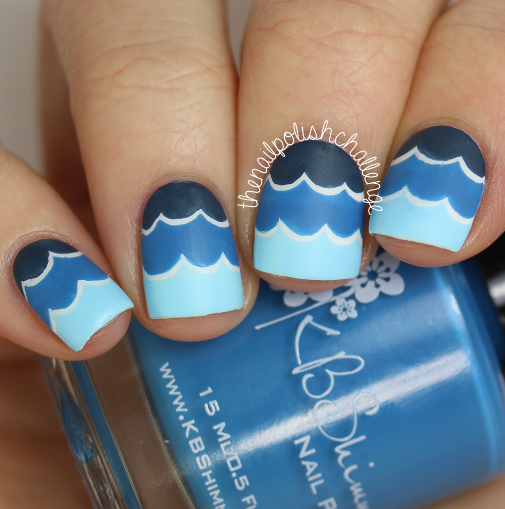Ocean Wave Nail Art With KBShimmer Nail Vinyl Decals