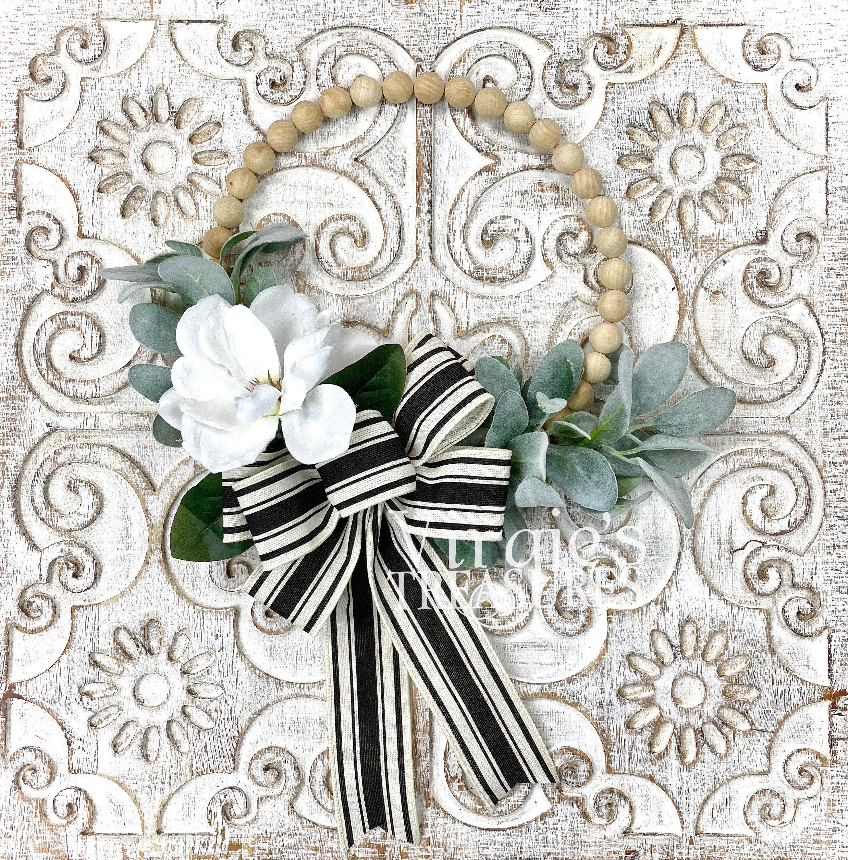 Photo of Wood Bead Wreath, Split Wood Ball Wreath, Farmhouse Wreath, Magnolia and Lambs Ear Hoop Wreath, Wall Gallery Wreath, 12 inch Wreath