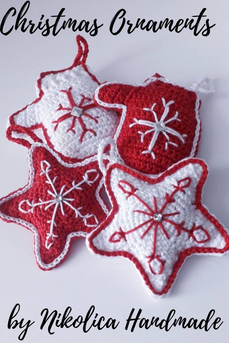 Christmas Tree Decoration Set Red White Star Mittens Home Christmas Decoration Crochet Ornament Stocking Handmade Set New Year Decoration
