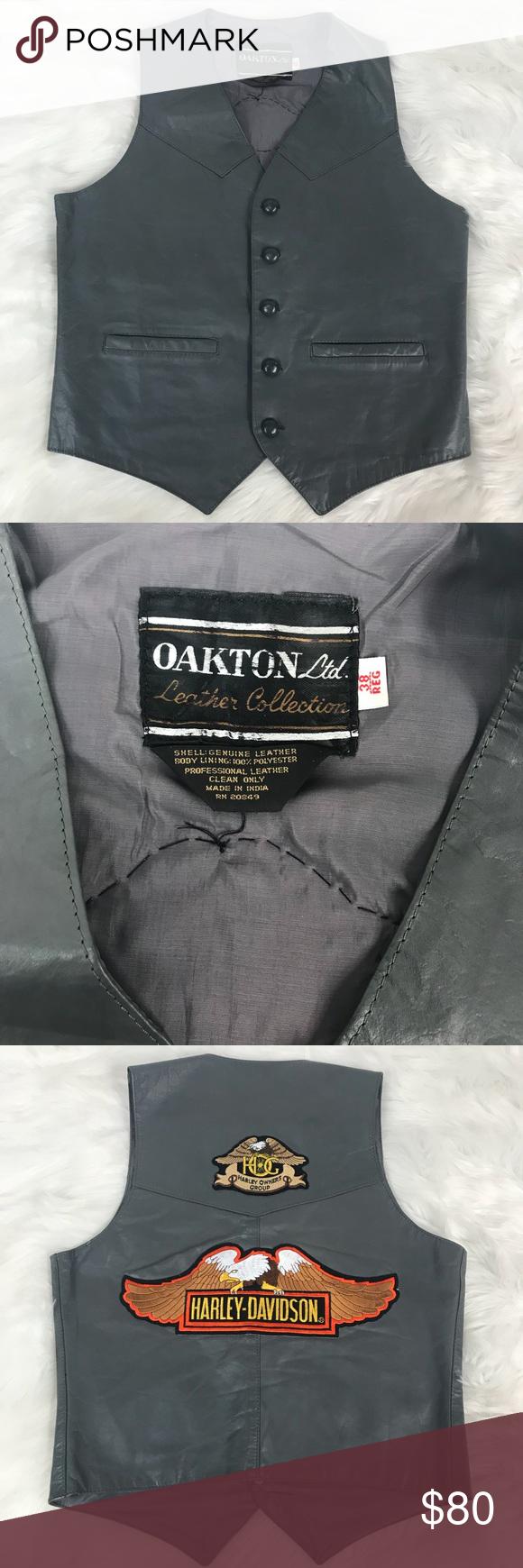 Oakton Leather Vest Vintage Harley Davidson Patch In 2018 My Posh