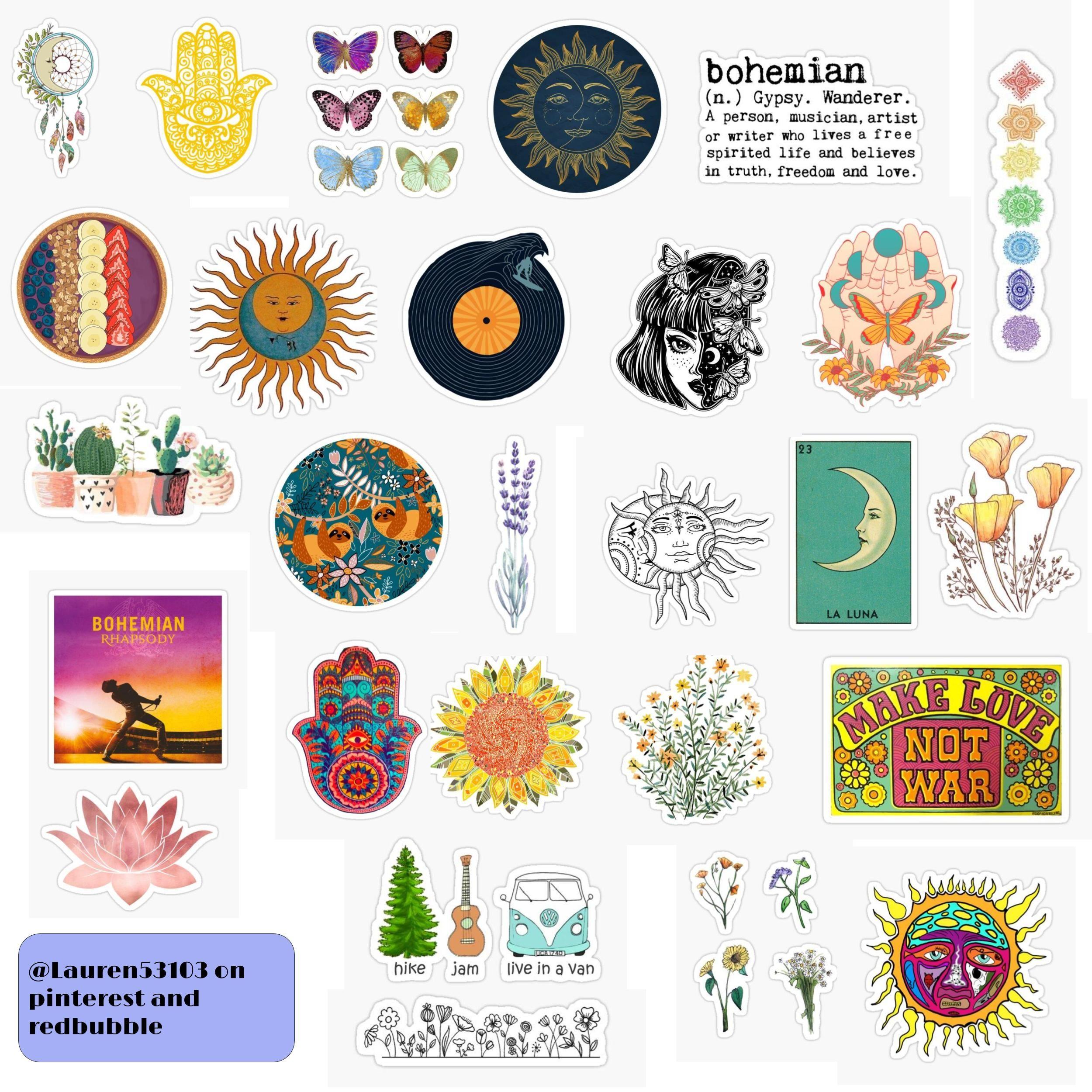 Boho Sticker Pack Sticker By Lauren53103 In 2020 Hippie Sticker Desktop Wallpaper Art Art Wallpaper Iphone