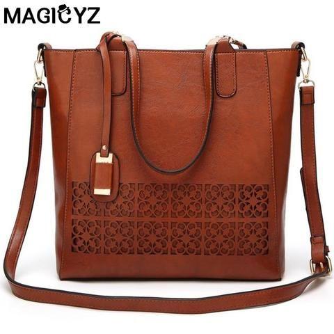 20d91129a8 Oil Wax PU Leather Women Bag hollow out Designer Handbags Luxury quality  Lady Shoulder Crossbody Bag