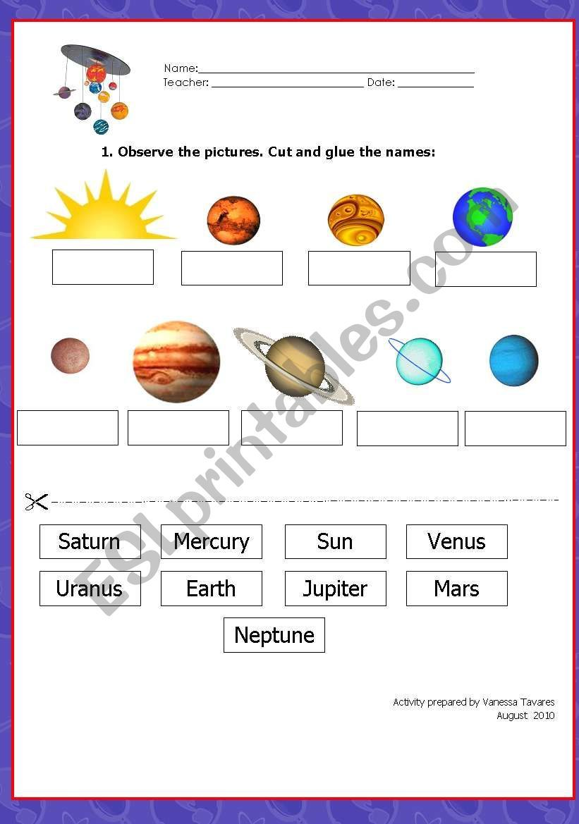 It S A Worksheet To Be Given For Practice After Having Presented The Vocabulary And The Pictures Of Solar System Worksheets Solar System Solar System Projects