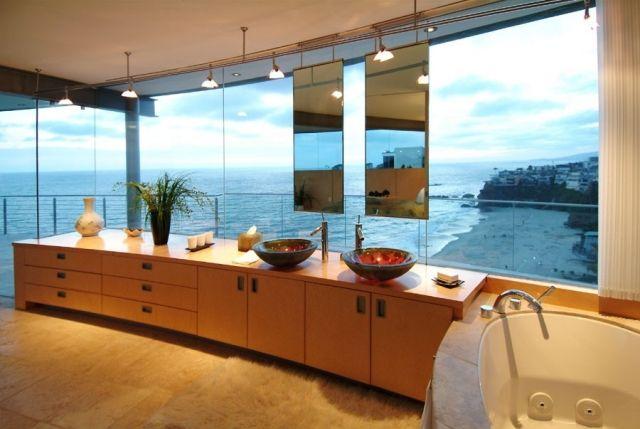 luxus-badezimmer-holz-waschtisch-stauraum-runde-aufsatzbecken - badezimmer aus holz