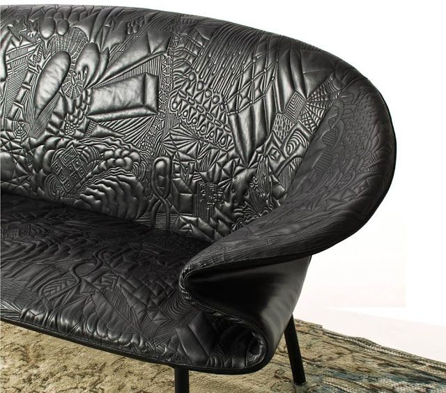 The Moroso Doodle Sofa by Front Design is a black leather sofa whose textural design is a replica of the Swedish groups' own hand-drawn doodles.