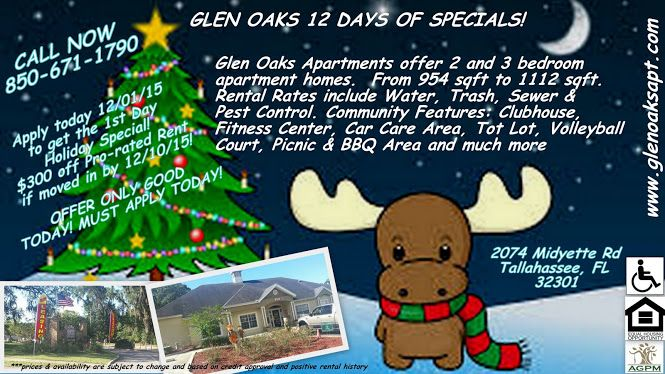 Check Out Our 12 Days Of Specials At Glen Oaks Apartments Glen Oaks Apartment Apartments For Rent