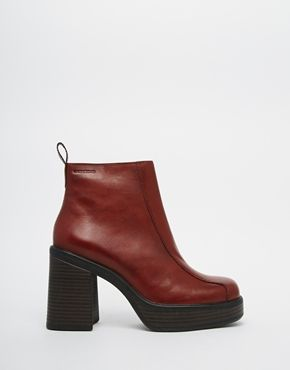 Buy Women Shoes / Vagabond Tyra Staked Platform Burgundy Leather Ankle Boots