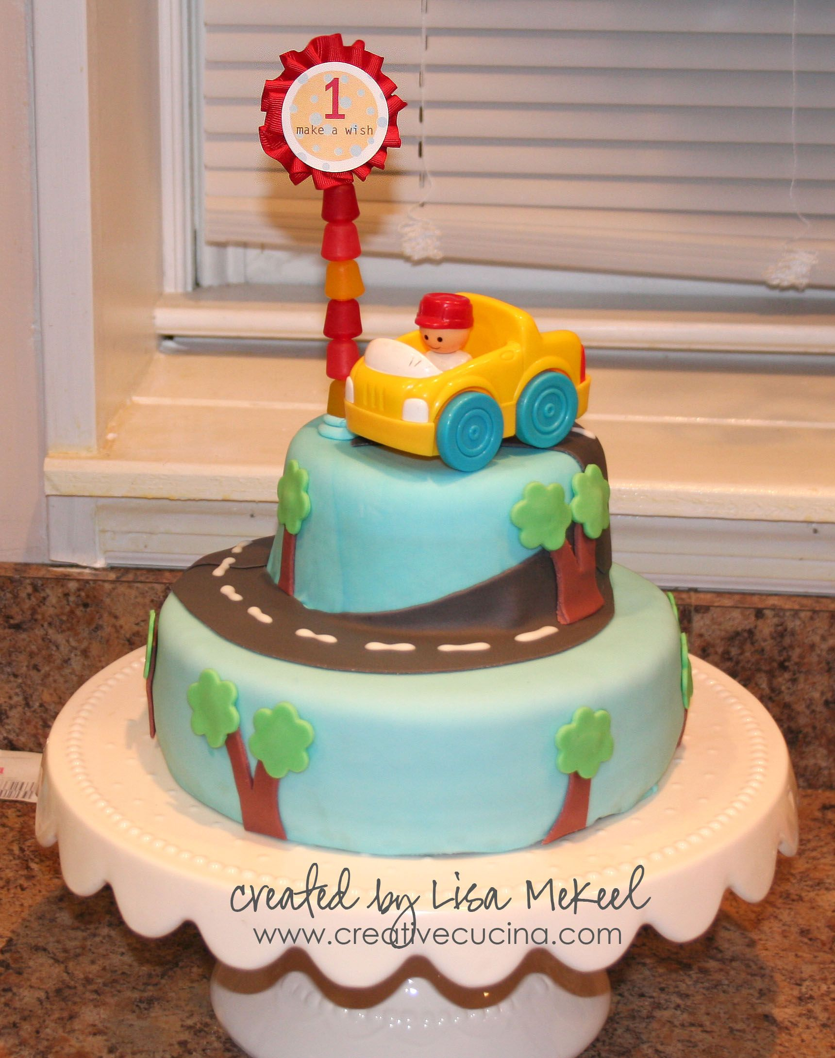 1st birthday party cake for boys Fondant Covered Car Cake Boys