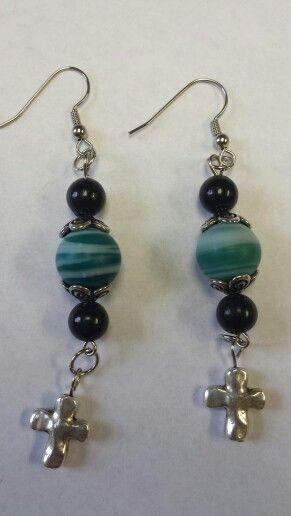 Teal & Black Cross Earrings