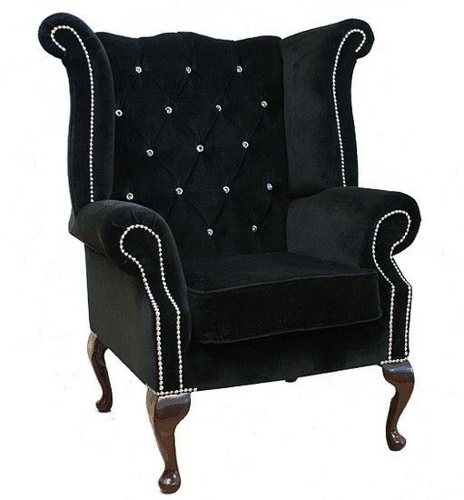 Boutique Black Velvet Chesterfield Crystal Queen Anne High Back Wing Chair Designersofas4u Armchair Wing Chair Buttoned Chair
