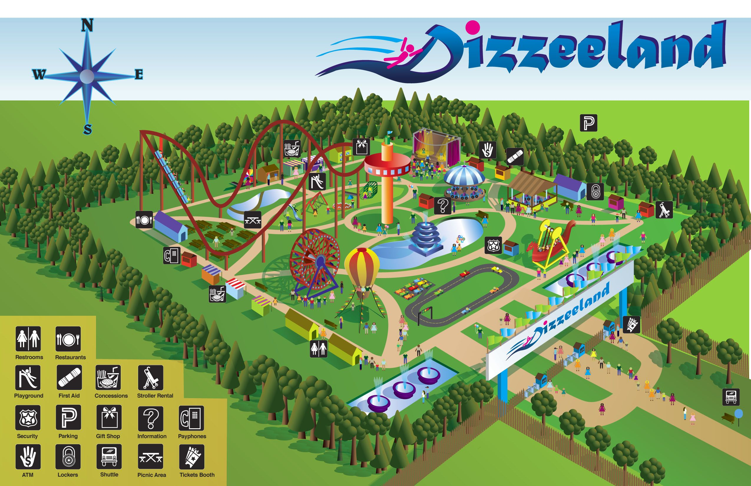 Teach Map Skills Using Amusement Park Map Read The Map Key With Students And Ask Them To Find Specific Attraction Map Skills Map Worksheets Geography Project