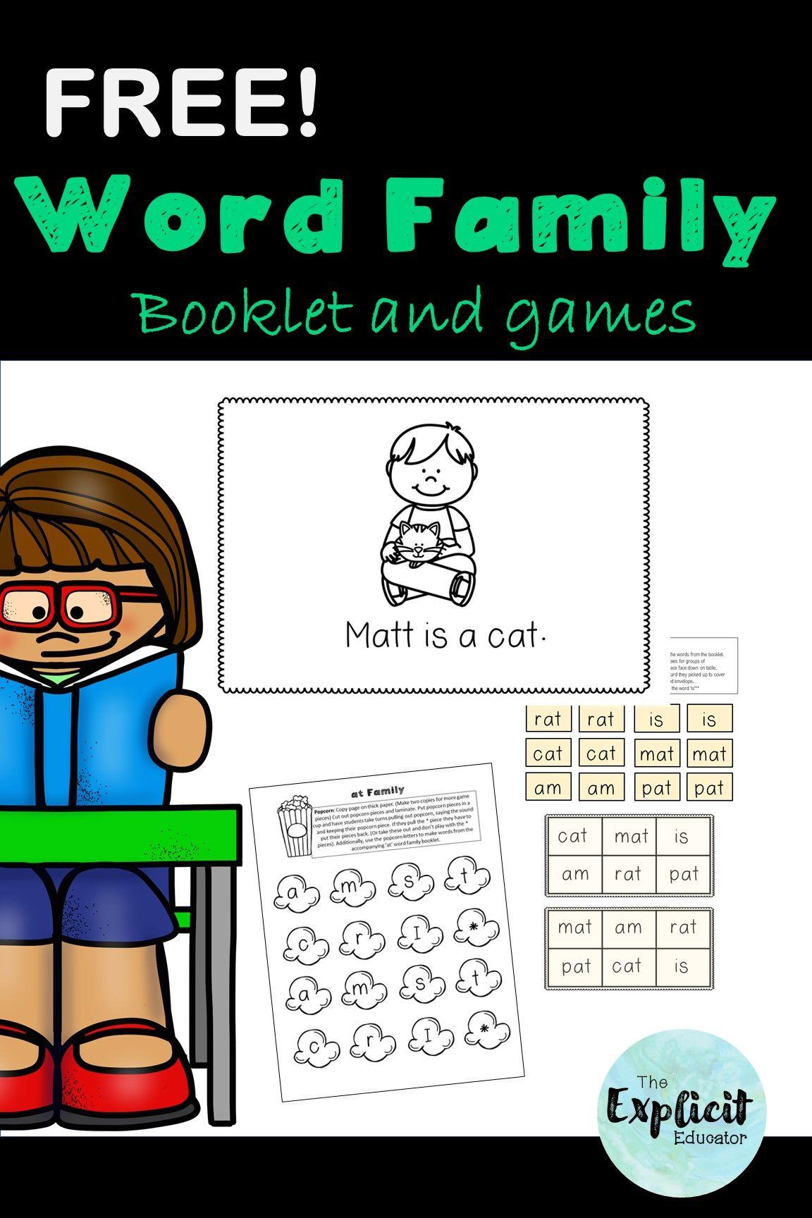kindergarten word family booklet printable alphabet