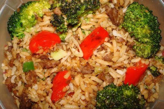 Kittencals Ground Beef Fried Rice Recipe Food Com Beef Fried Rice Ground Beef Ground Beef Fried Rice Recipe