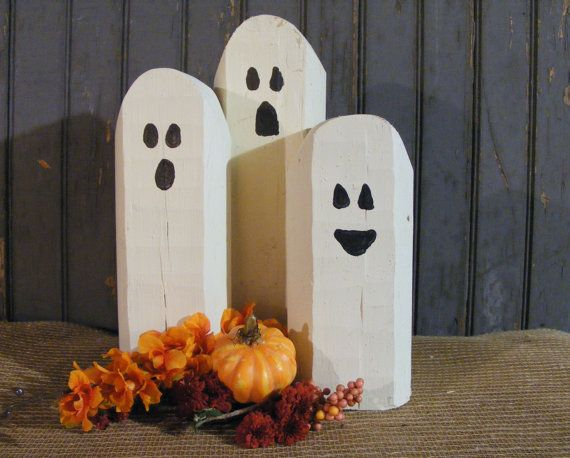 reclaimed wood ghosts rustic halloween decor primitive ghost wooden ghost primitive halloween - Rustic Halloween Decorations