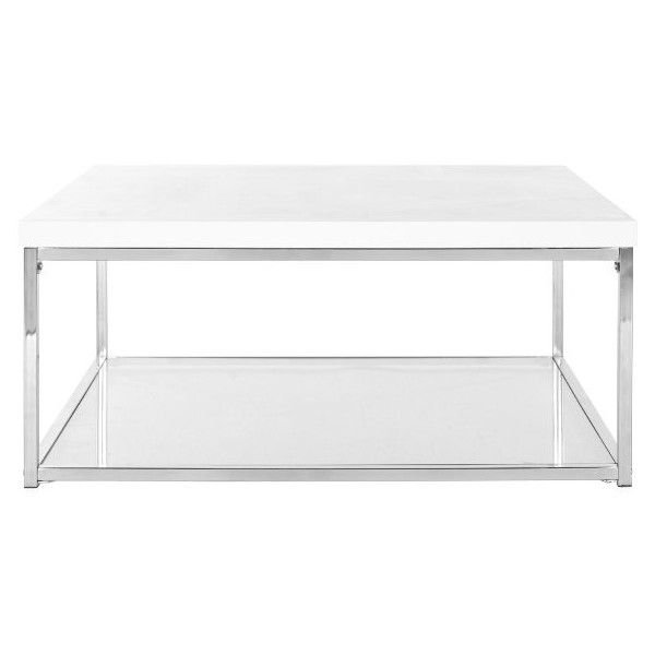 Safavieh Roesia Coffee Table ($250) ❤ liked on Polyvore featuring home, furniture, tables, accent tables, chrome coffee table, white table, lacquer coffee table, lacquer furniture and white lacquer table