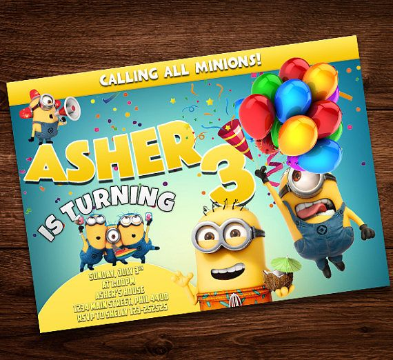 Minions Invitation Card For Kids Birthday Party Girls And Boys Digital Download Editable Text