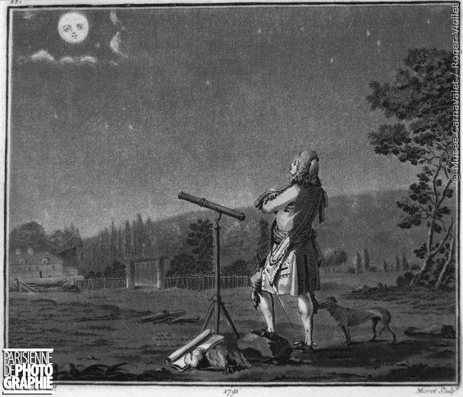 """La plus grande """"Super #lune """" depuis 1948 aura lieu ce lundi #14novembre 🌜 """"Fontenelle méditant sur la pluralité des mondes"""" Gravure 1820"""