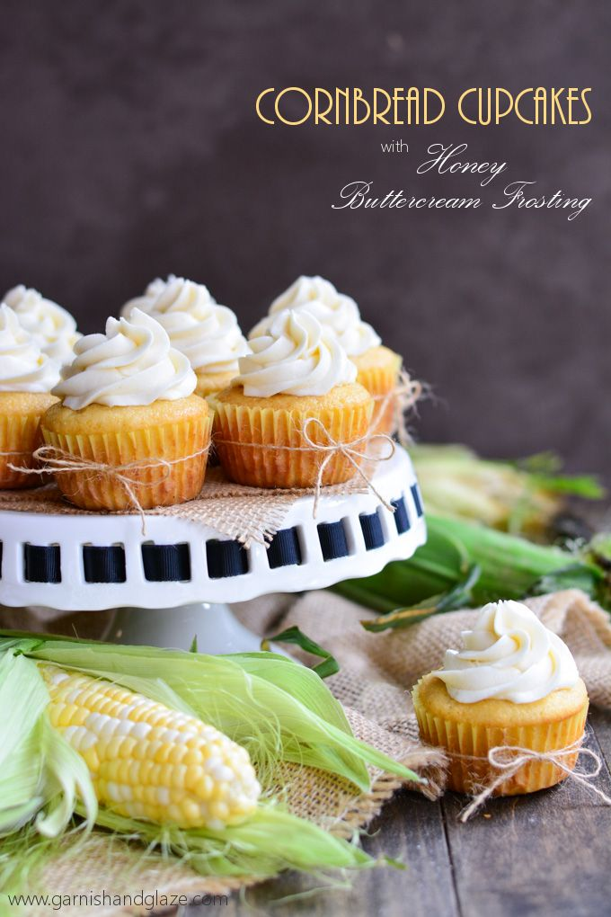 Cornbread Cupcakes with Honey Buttercream Frosting | Garnish and Glaze