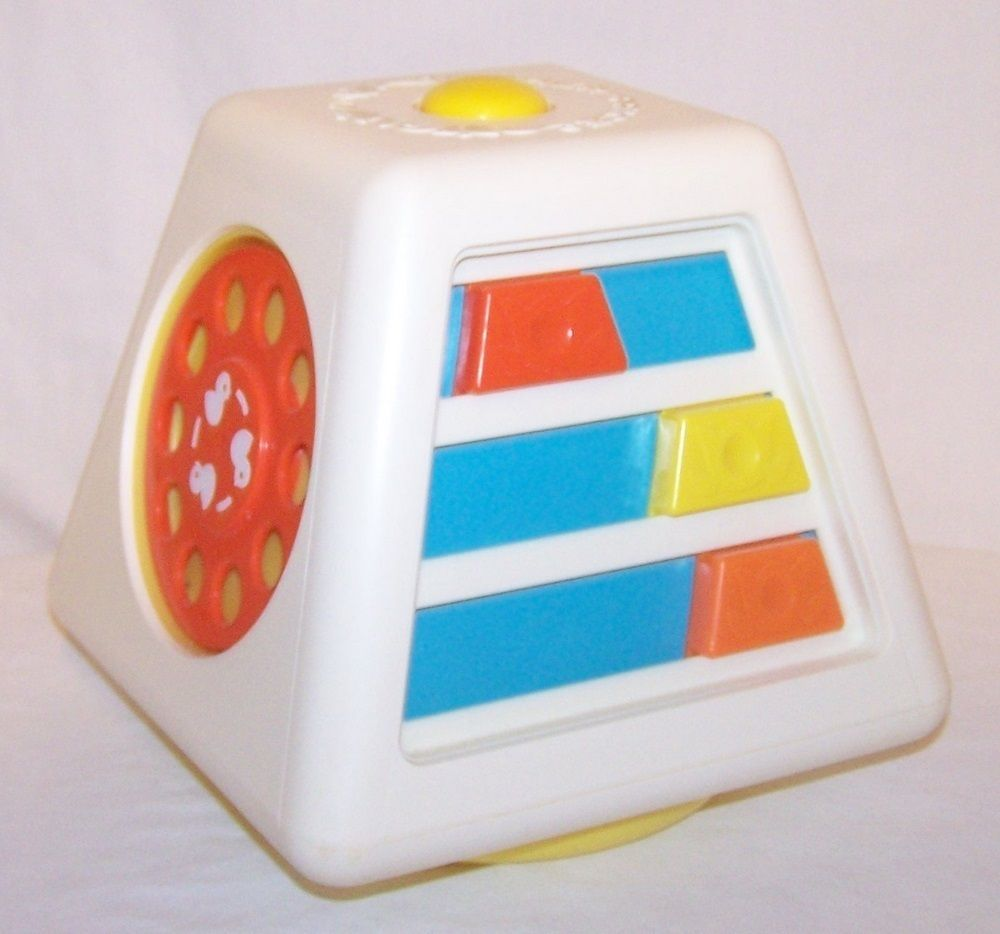Vintage Fisher Price Baby Toy Activity Quaker Oats Cube Phone Dial ...
