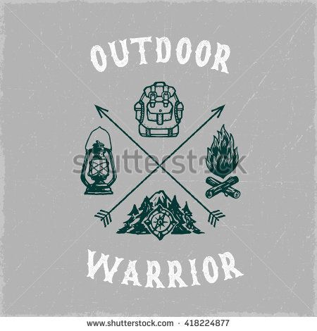 Outdoor Warrior Vintage Hand Lettered Camping Stock Vector (Royalty Free) 418224877
