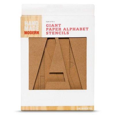 Hand Made Modern Giant Paper Alphabet Stencils 26 Ct