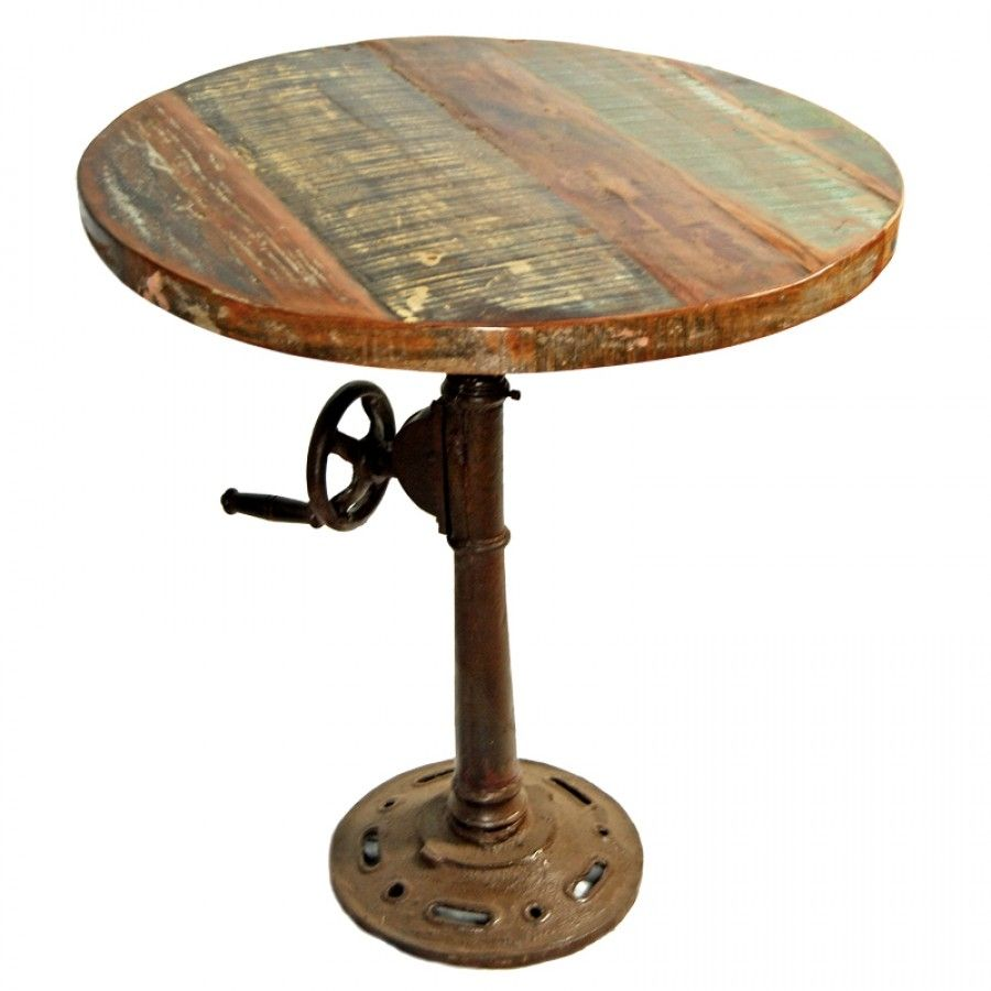 Reclaimed Wood Industrial Round Coffee Table: Top Round Small Table Unique Gifts Reclaimed Wood