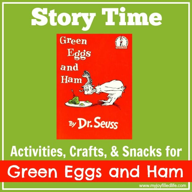 A big list of activities, crafts, and snacks to incorporate into your story time with the book Green Eggs and Ham by Dr. Seuss