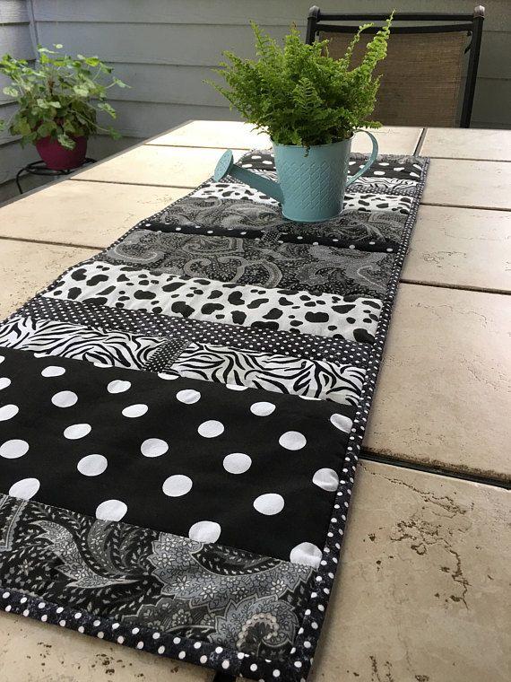 Quilted Table Runner Black White Stripe Polka Dot Zebra Quilted Table Runner Handcrafted Table Beautiful Table