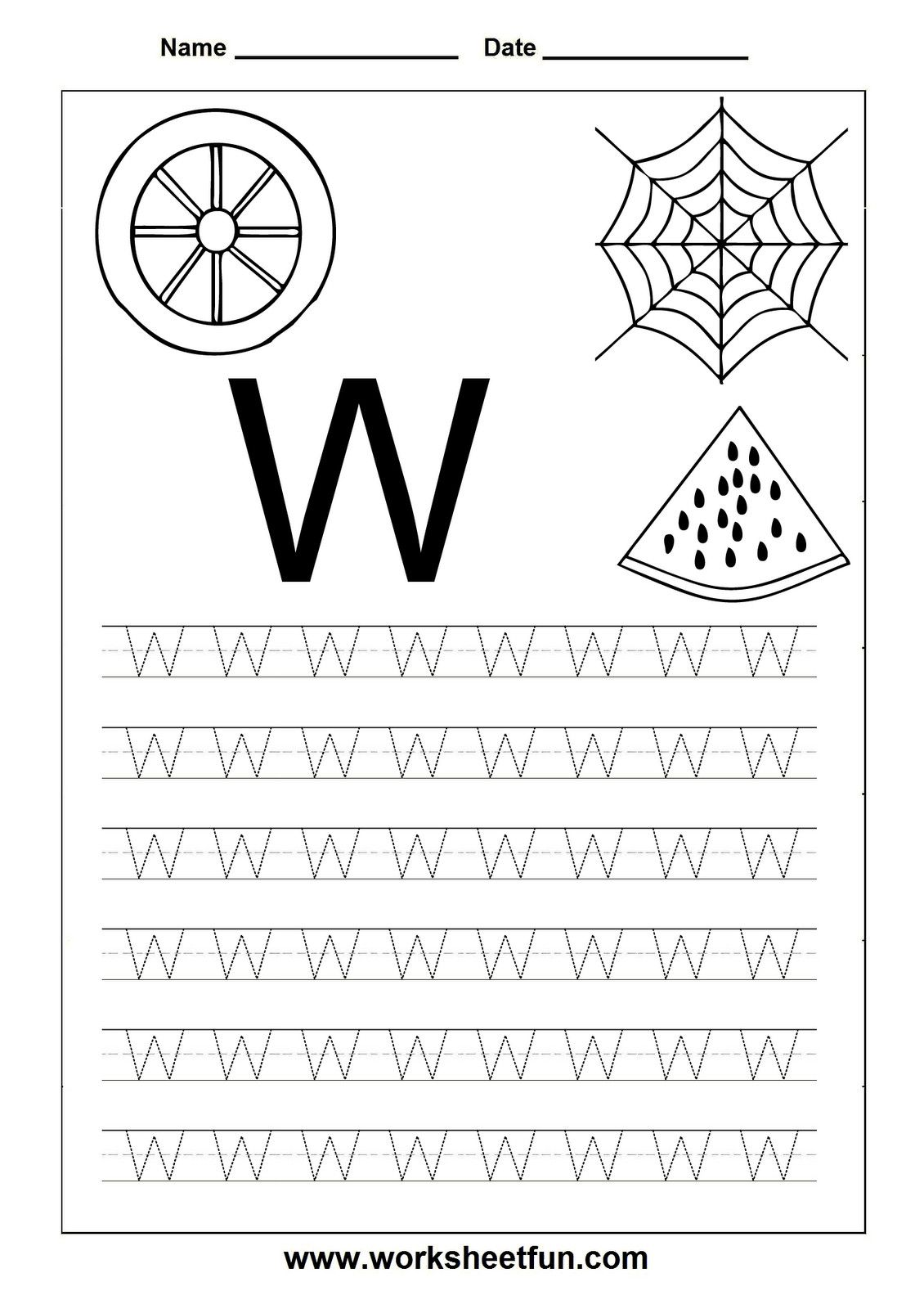 5 Printable Tracing Letter W Worksheets In