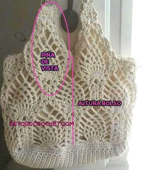 Bolso con punto piñas tejido al crochet / Patrones | Bolsos, Bolsos ...
