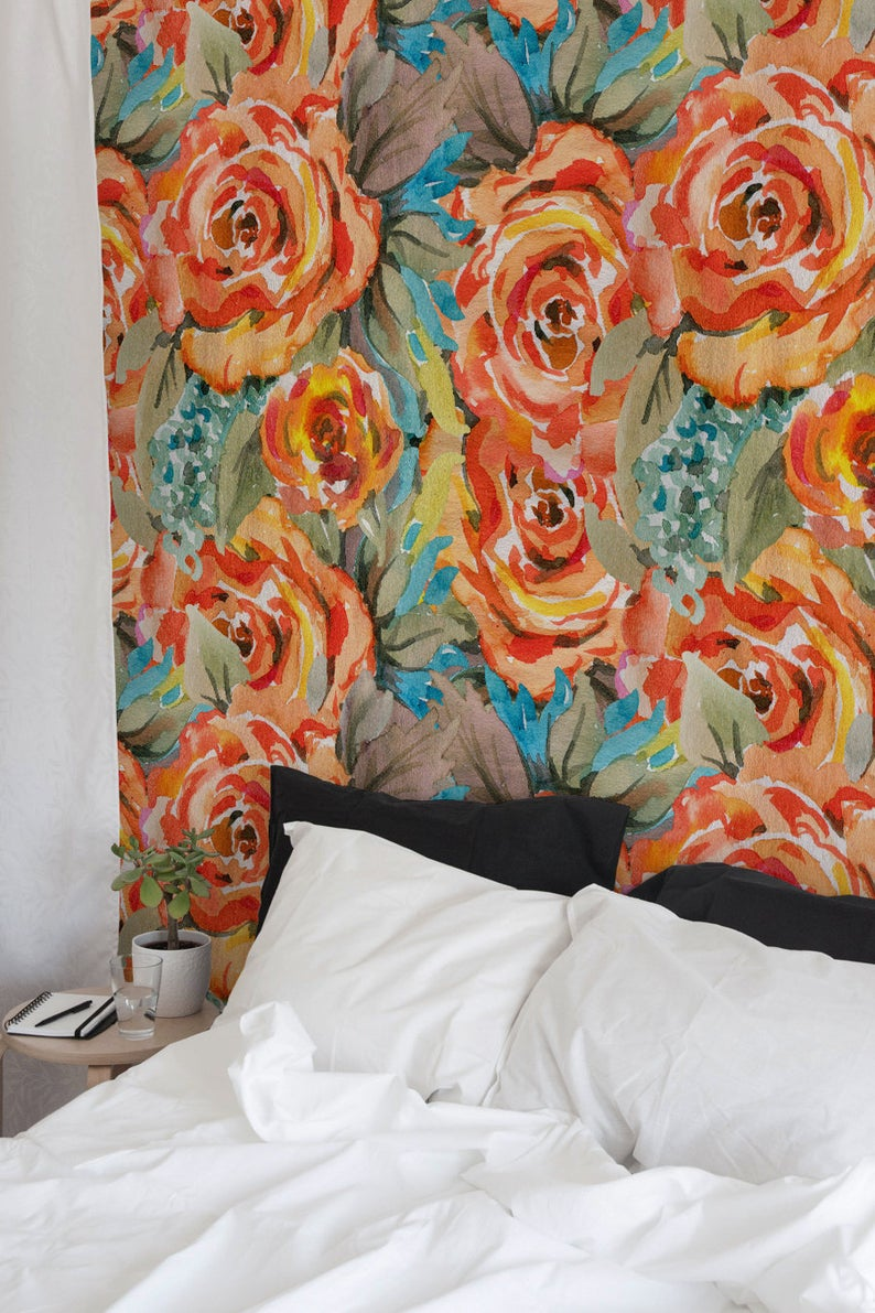 Colorful Floral Wallpaper, Peel and Stick Wallpaper