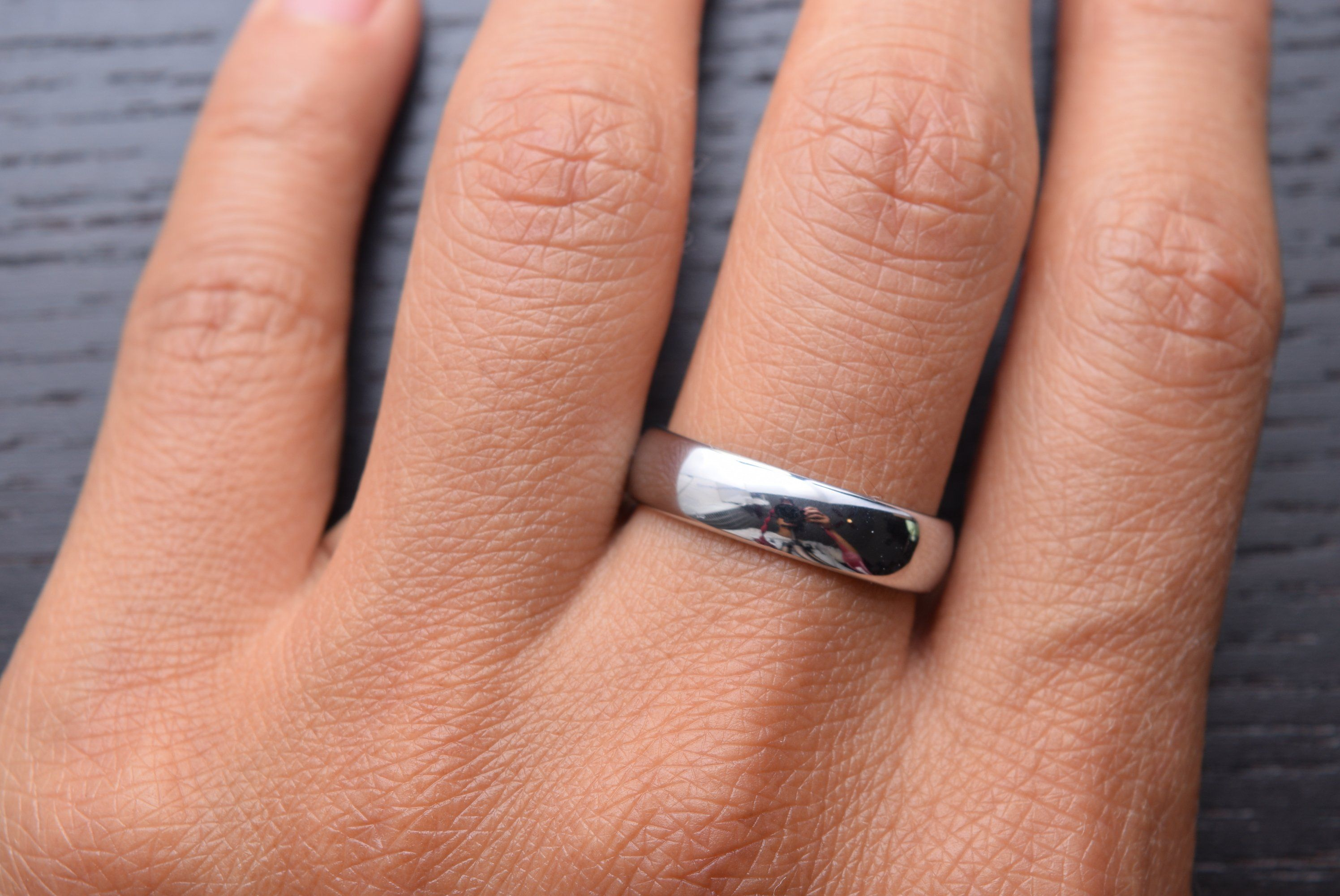 5mm White Tungsten Carbide Polished Classic Wedding Ring Platinum