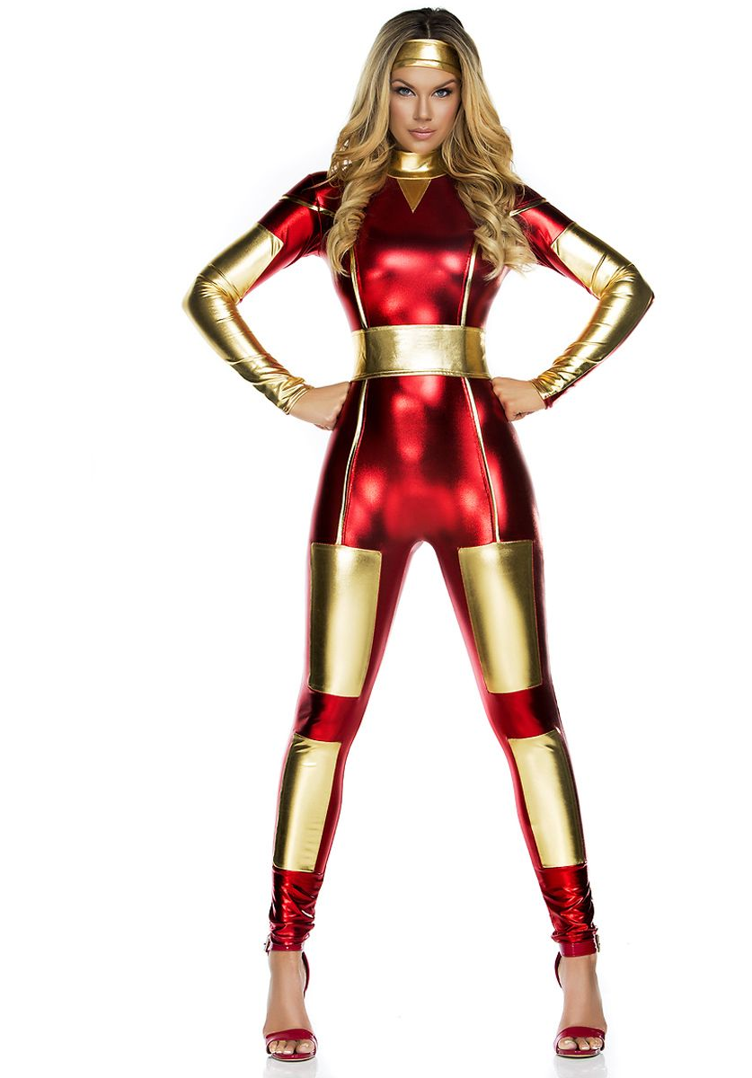 Sexy Red and Gold Catsuit Steel Seductress Superhero Costume ...