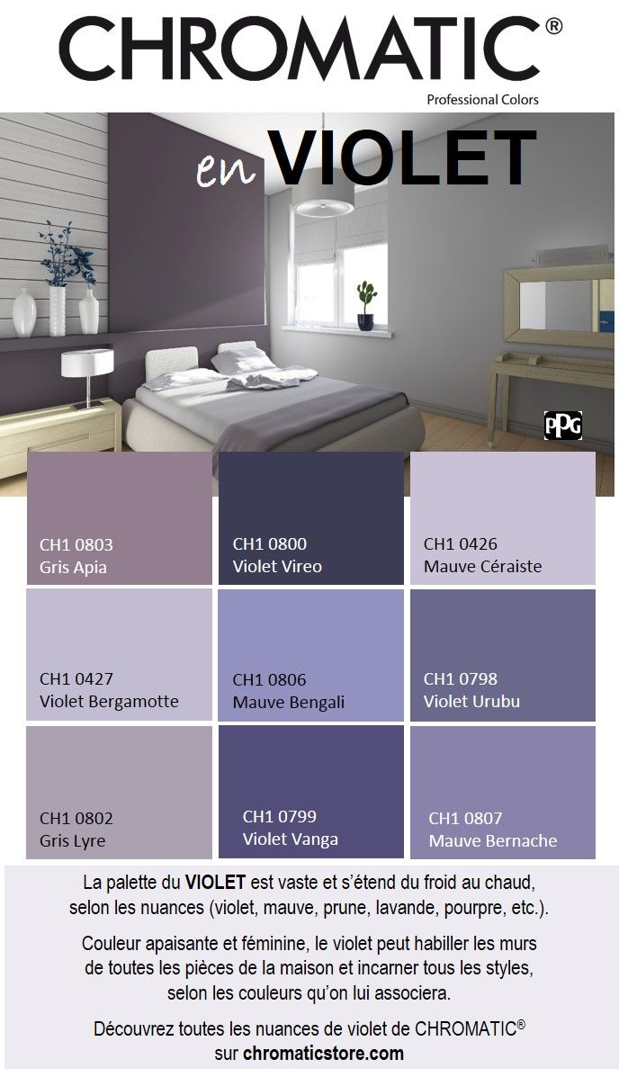 la palette du violet est vaste et s tend du froid au. Black Bedroom Furniture Sets. Home Design Ideas