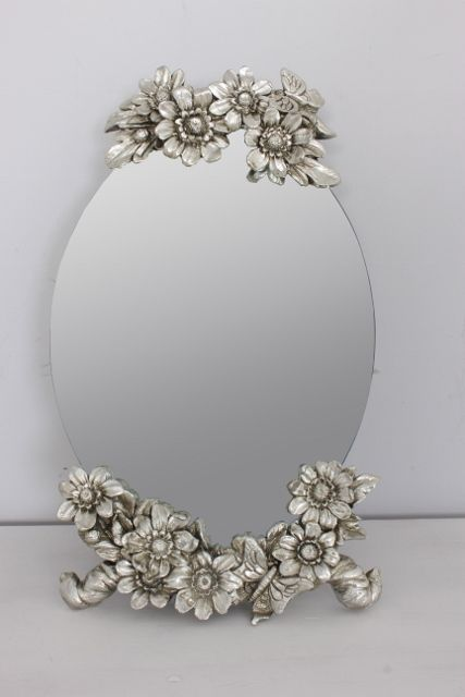 Exceptional DIY Craft: Inspiration For A Small Mirror On A Stand. Just Spray Paint  Flowers Silver Or Gold And Apply To Mirror.