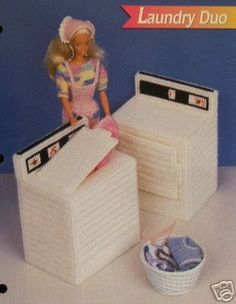 plastic canvas patterns free doll furniture | Plastic Canvas Barbie Fashion Doll Pattern WASHER & DRYER Laundry Duo