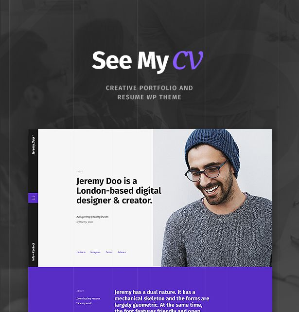 Download See My CV u2013 Resume \ vCard WordPress Theme (Portfolio - wordpress resume theme