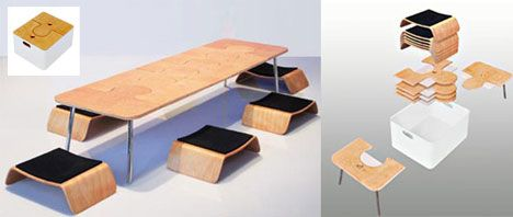 Creative Collapsible Dining Room Table Set Every Piece Fits Into The Carrying Case
