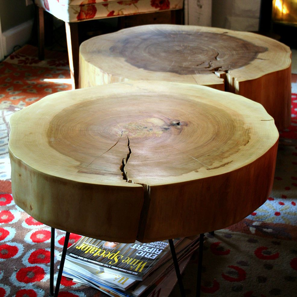 Diy Table From Large Tree Slices Tree Slices Tree Stump Table Wood Diy