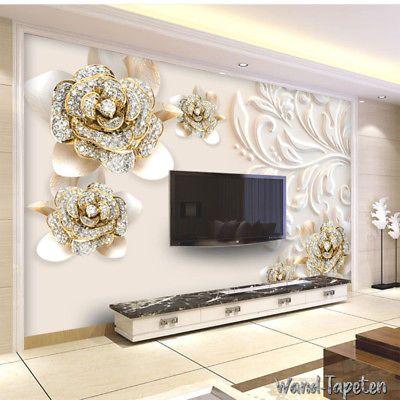 Vlies Fototapeten - Wandtapeten Wandbilder 3D-Diamant Relief Blume