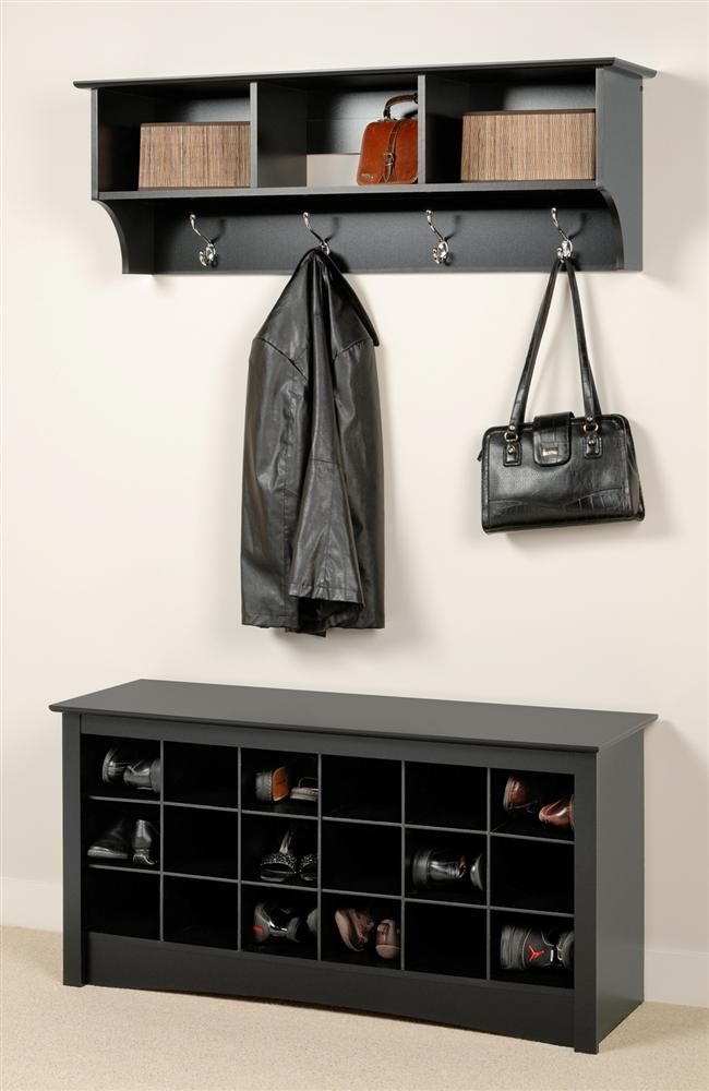 Entryway Wall Mount Coat Rack W Shoe Storage Bench In Black Shoe Storage Bench Entryway Bench With Shoe Storage Entryway Shoe Storage