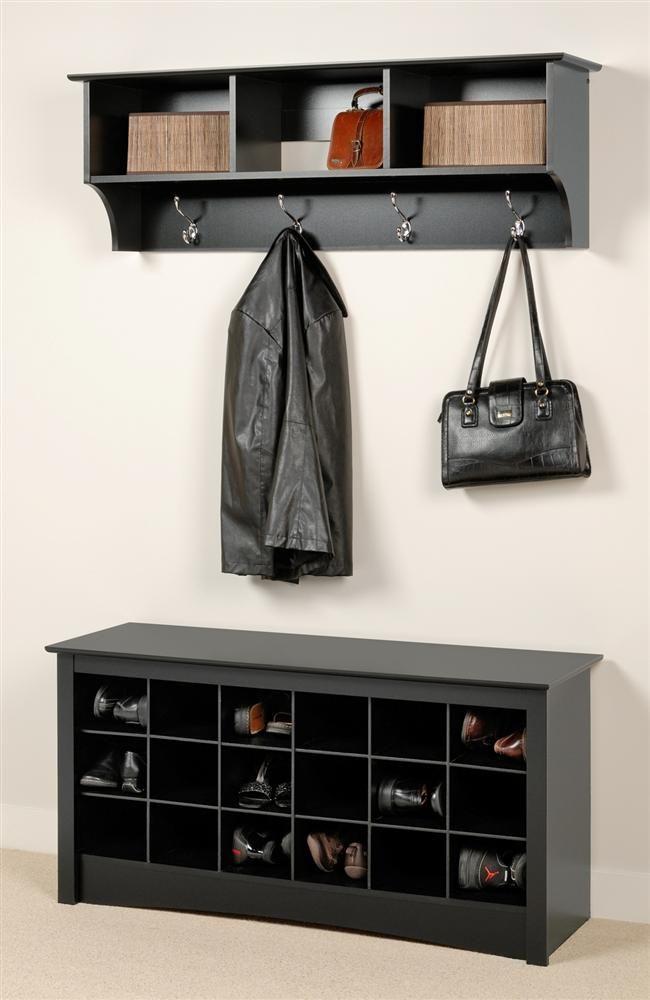 Entryway Wall Mount Coat Rack W Shoe Storage Bench In Black Shoe