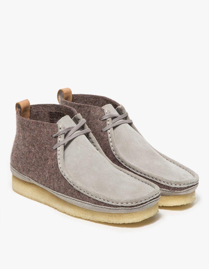 Dark Grey Felt Wallabee Boot | Shoes | Boots, Clarks, Fancy