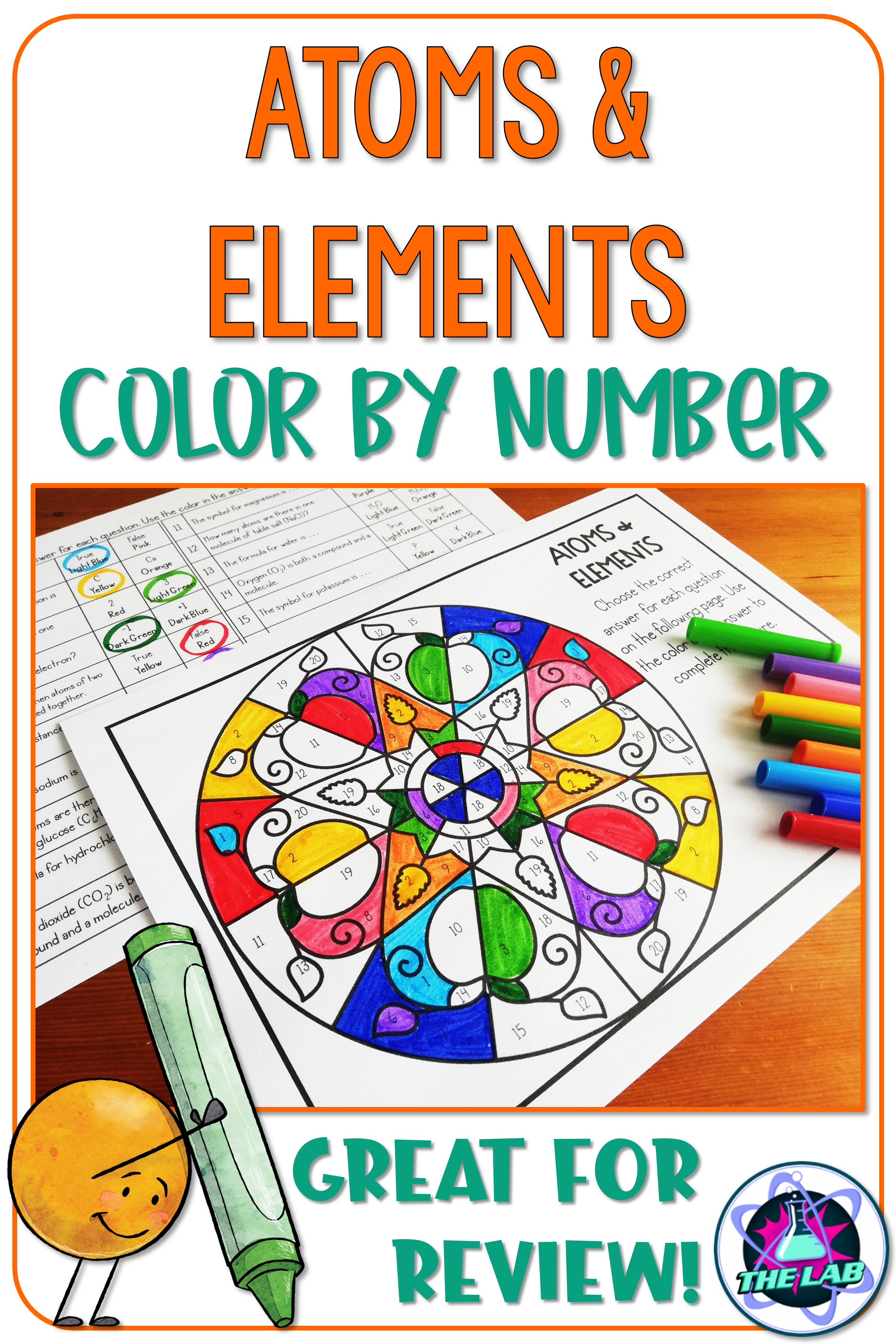 Atoms And Elements Color By Number Science Activity