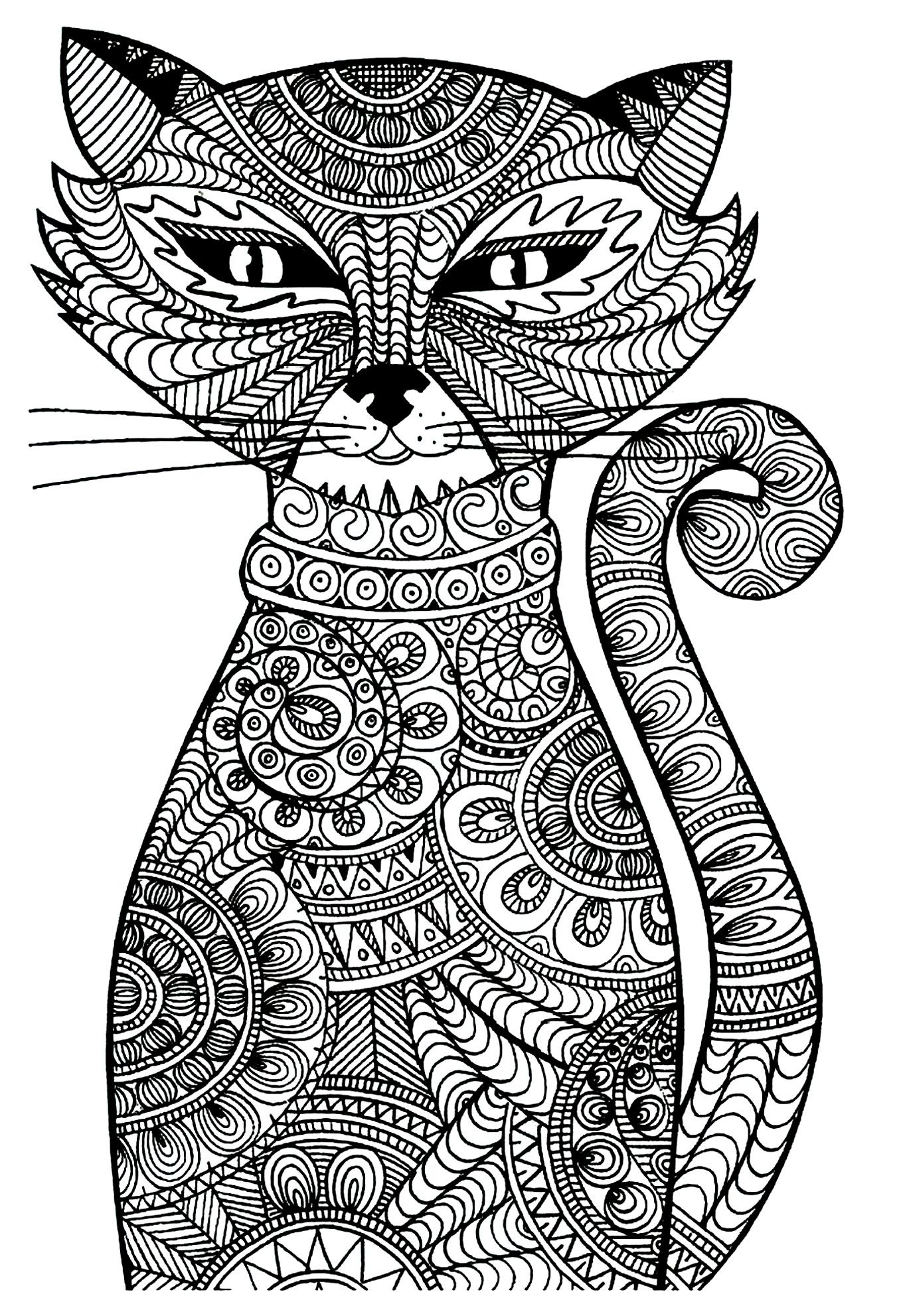 free coloring page coloring adult cat cat with zentangle patterns