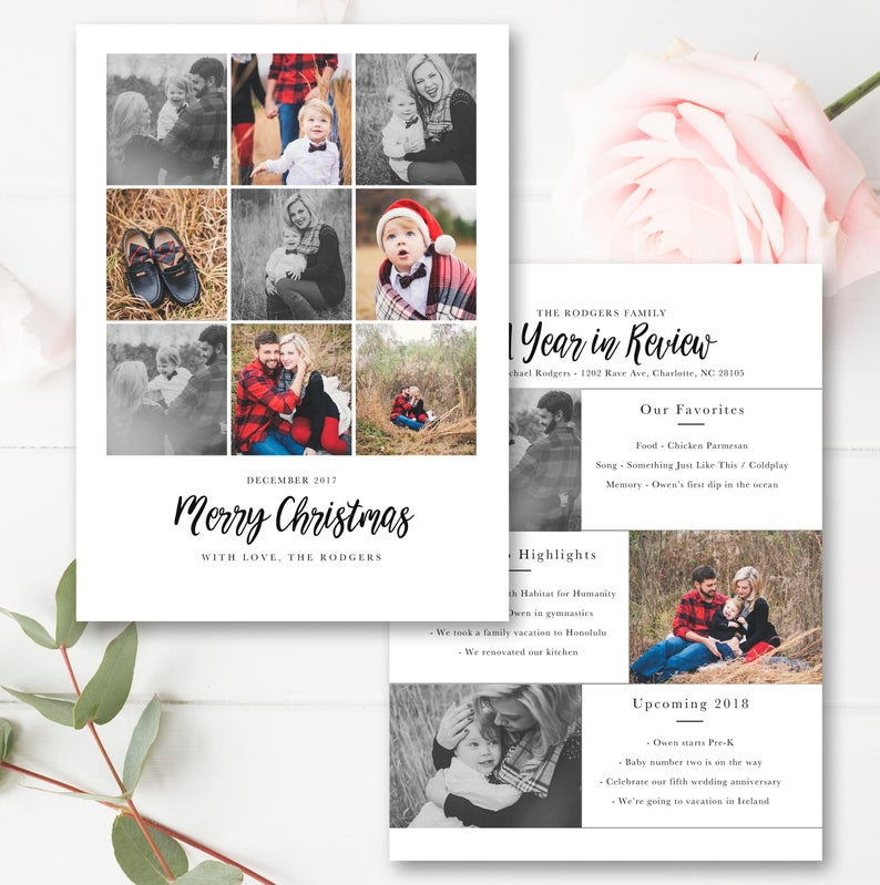 Year In Review Christmas Card Template, 5x7 Photo Card