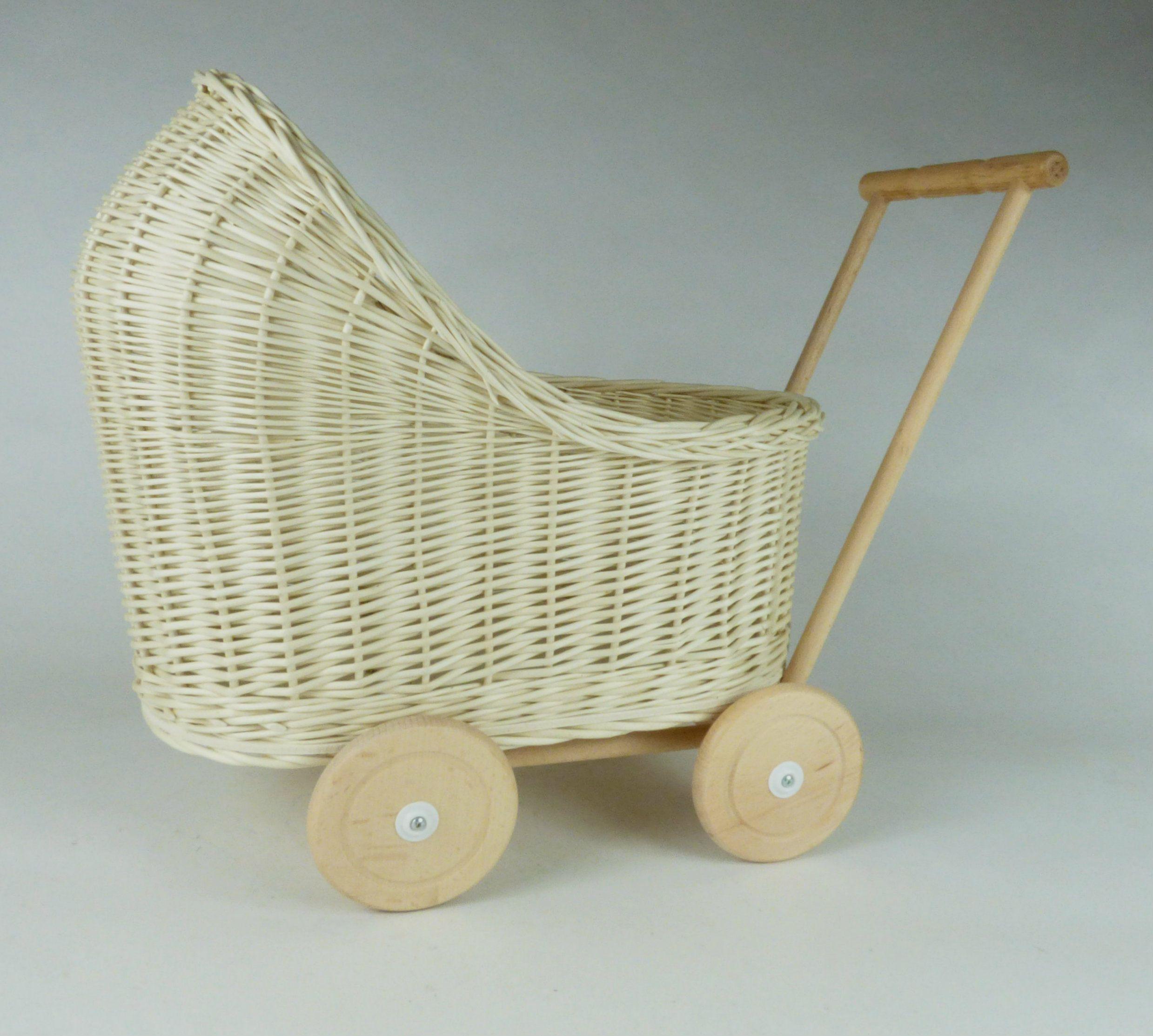 Wiklibox natural wicker & wood doll stroller in ECRU