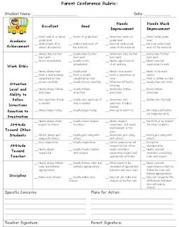 Love this idea a rubric sent home with conference lettersinvites a rubric sent home with conference lettersinvites this teacher only gets to meet w about 8 kids gets everyone prepared and informed nice stopboris Image collections