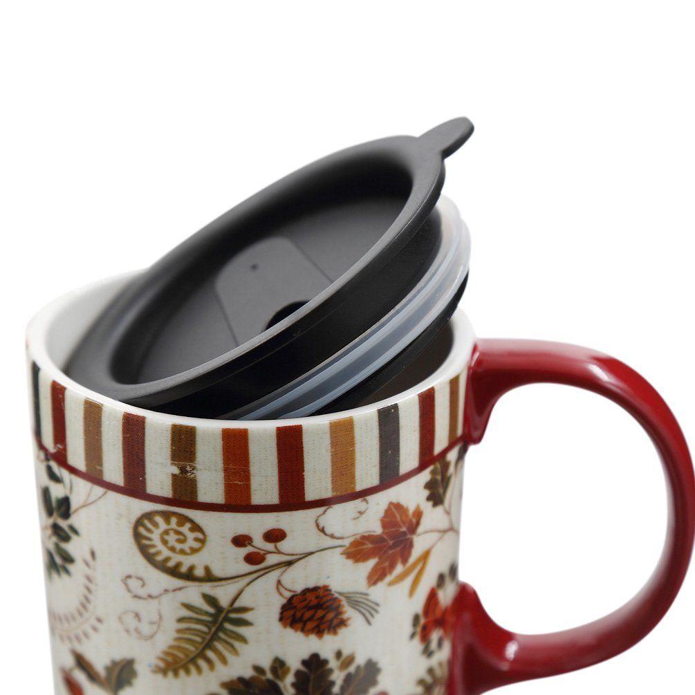Tall Ceramic Travel Mug with Sealed Lid 17oz.Flower